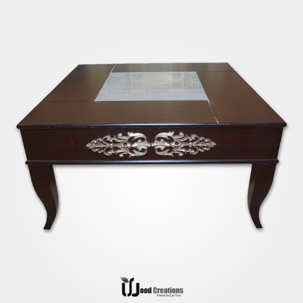 Wooden Center Table With Glass