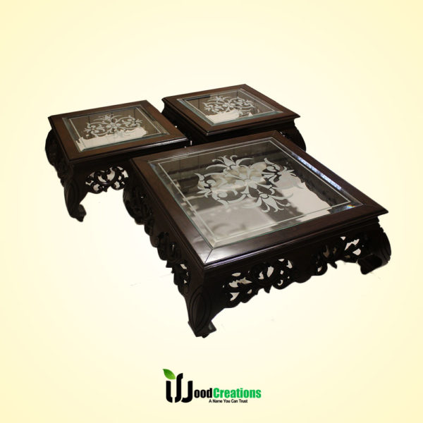 Chinoti Style Center Glass Top Center Table Set