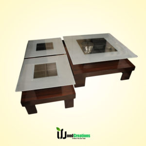 Full Glass Top Center Table Set