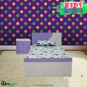 Kids Bed With Side Table Purple