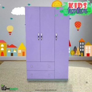 Kids Wardrobe 3-Door Purple